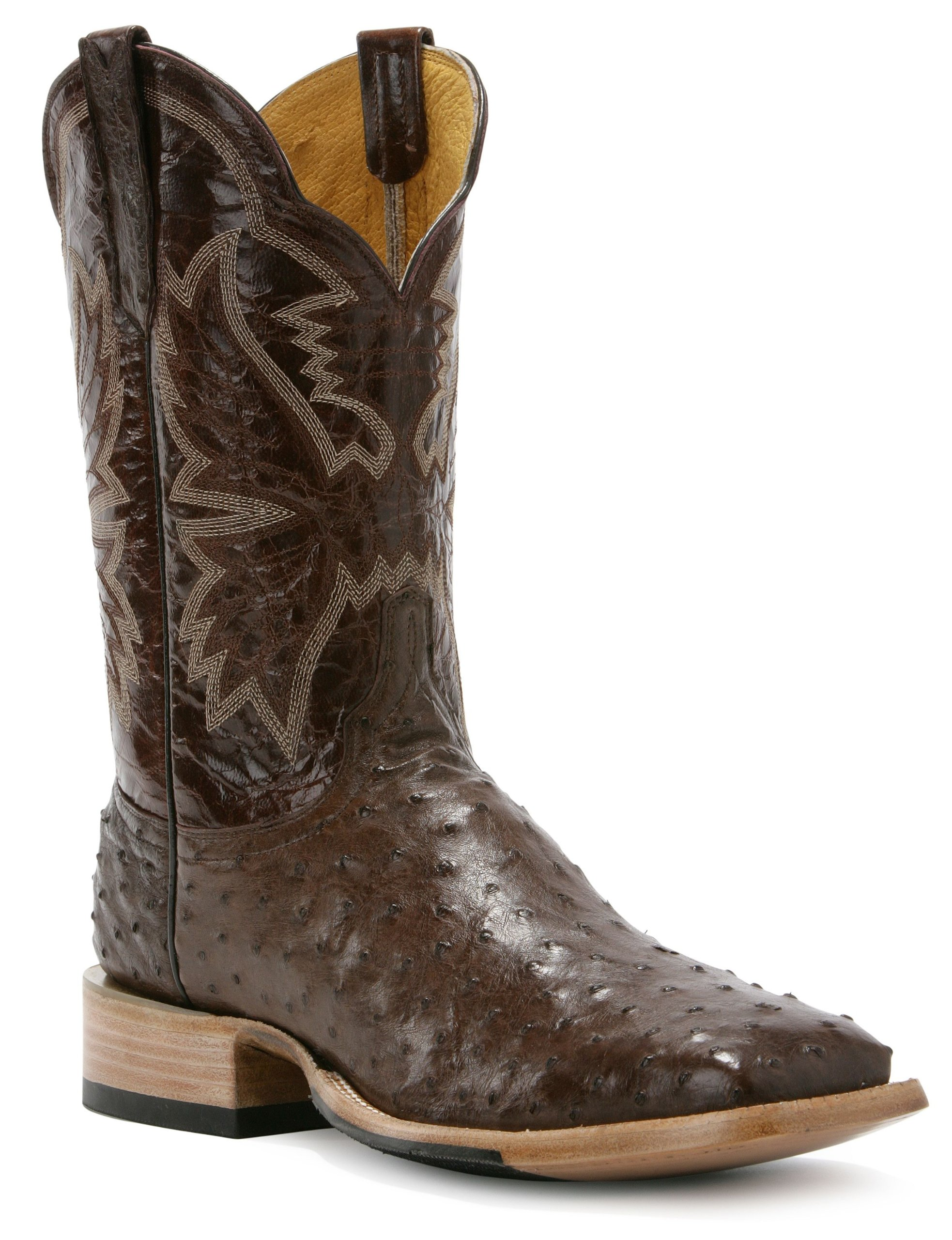 Cinch Men's Classic Full Quill Ostrich Cowboy Boot Square Toe