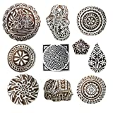 Hashcart Hand-Carved Wooden Baren/Motif Printing Block for Artistic Design On Saree Border/Painting - Xmas Gifts (Color: # 1091, Tamaño: Set of 10)