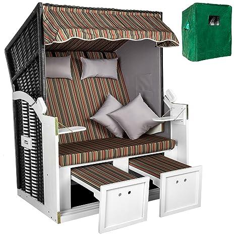 TecTake Chaise cabine de plage de luxe corbeille fauteuil chaise jardin + housse de protection + 2 coussins