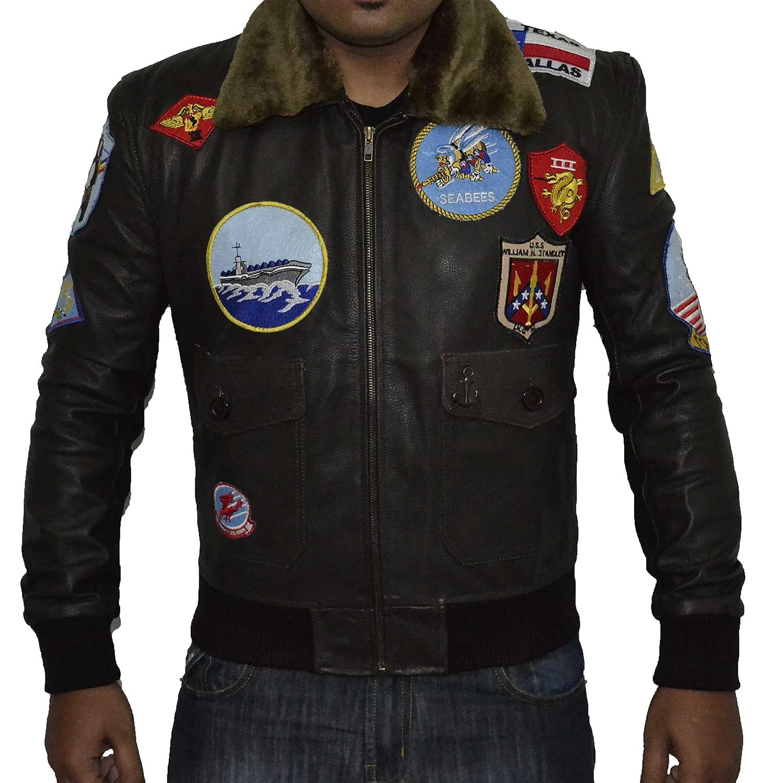 Top Gun BROWN REAL Cowhide Leather Jacket SAT 3