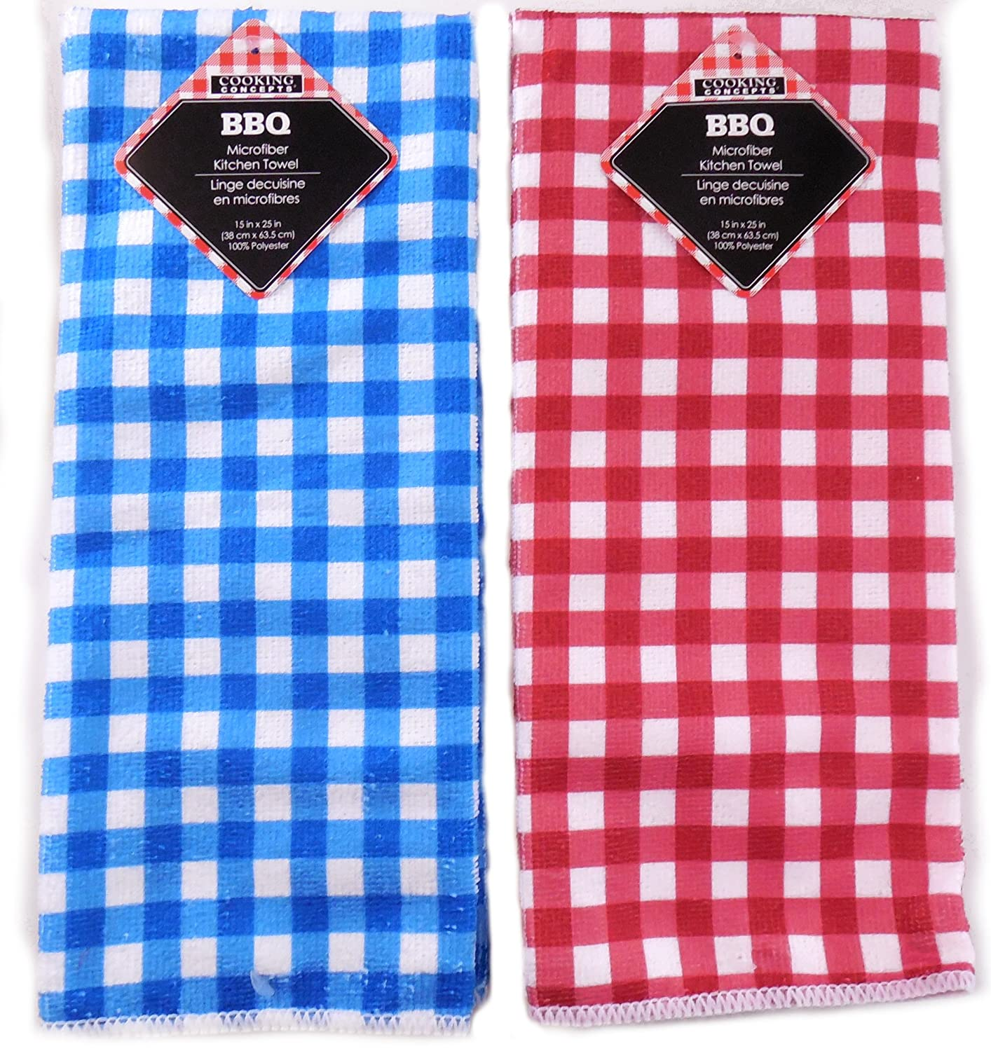 Blue and white kitchen towels - Cooking Concepts Bbq Gingham Microfiber Kitchen Towels 15 Inch X 25 Inch Set Of Two Polyester Set Of Two Coordinating Towels One Red White Gingham
