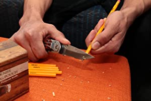 Pro Utility Knife 2 in 1 Box Cutter. Folding Lockback Work Knife with Clip. Stainless Steel & Wood Handle Razor Knives. Best Gift Idea by Vermont. (Color: Wood, Tamaño: 1)