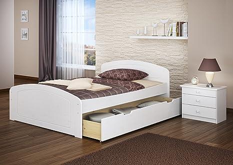 Funktionsbett 140x200 Doppelbett + 3 Staukästen + Rollrost Seniorenbett Massivholz Weiß 60.50-14 W