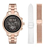 Michael Kors Access Womens Runway Touchscreen Smartwatch Stainless Steel Bracelet Leather Set watch, Rose Gold tone, MKT5060 (Color: Rose Gold/Mesh and leather set)