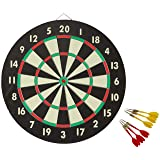 Accudart 2-in-1 Starlite Quality-Bound Paper Dartboard Game Set with Six Included Brass Darts (Color: Black)
