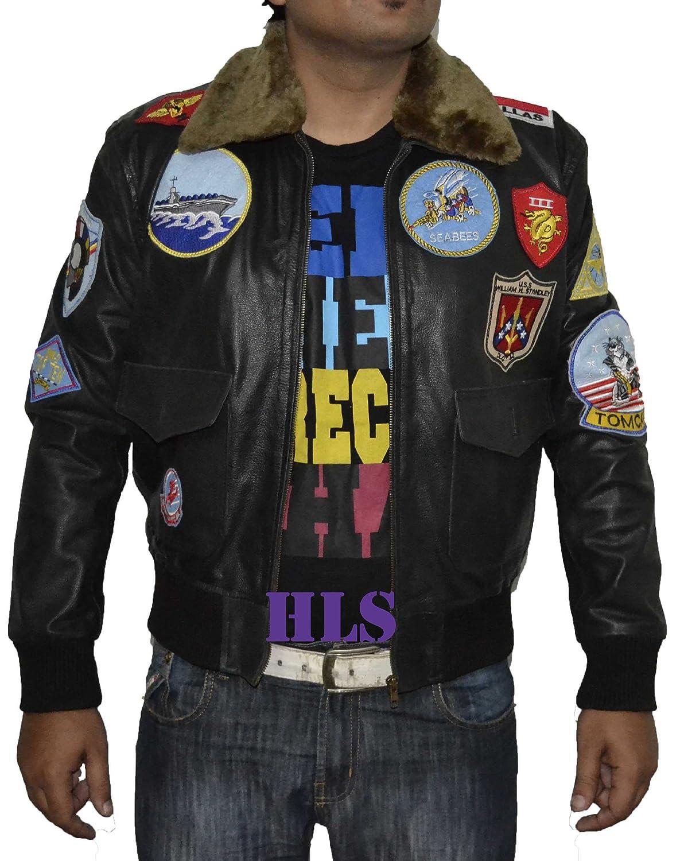 Top Gun BLACK REAL Cowhide Leather Jacket SAT 2