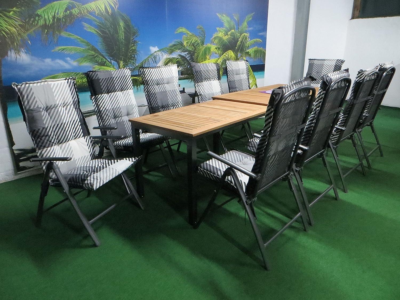 21-teilige Luxus Aluminium Teak Streckmetall Gartenmöbelgruppe