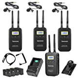 Saramonic VmicLink5 5.8GHz SHF Wireless Lavalier Microphone System with 3 Lavalier Bodypack Transmitters & Portable Receiver - for DSLR Cameras, Camcorders, Recorders & Mixers