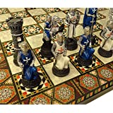 HPL Medieval Times Crusades Warrior Chess Set Blue & White Maltese Cross with 17