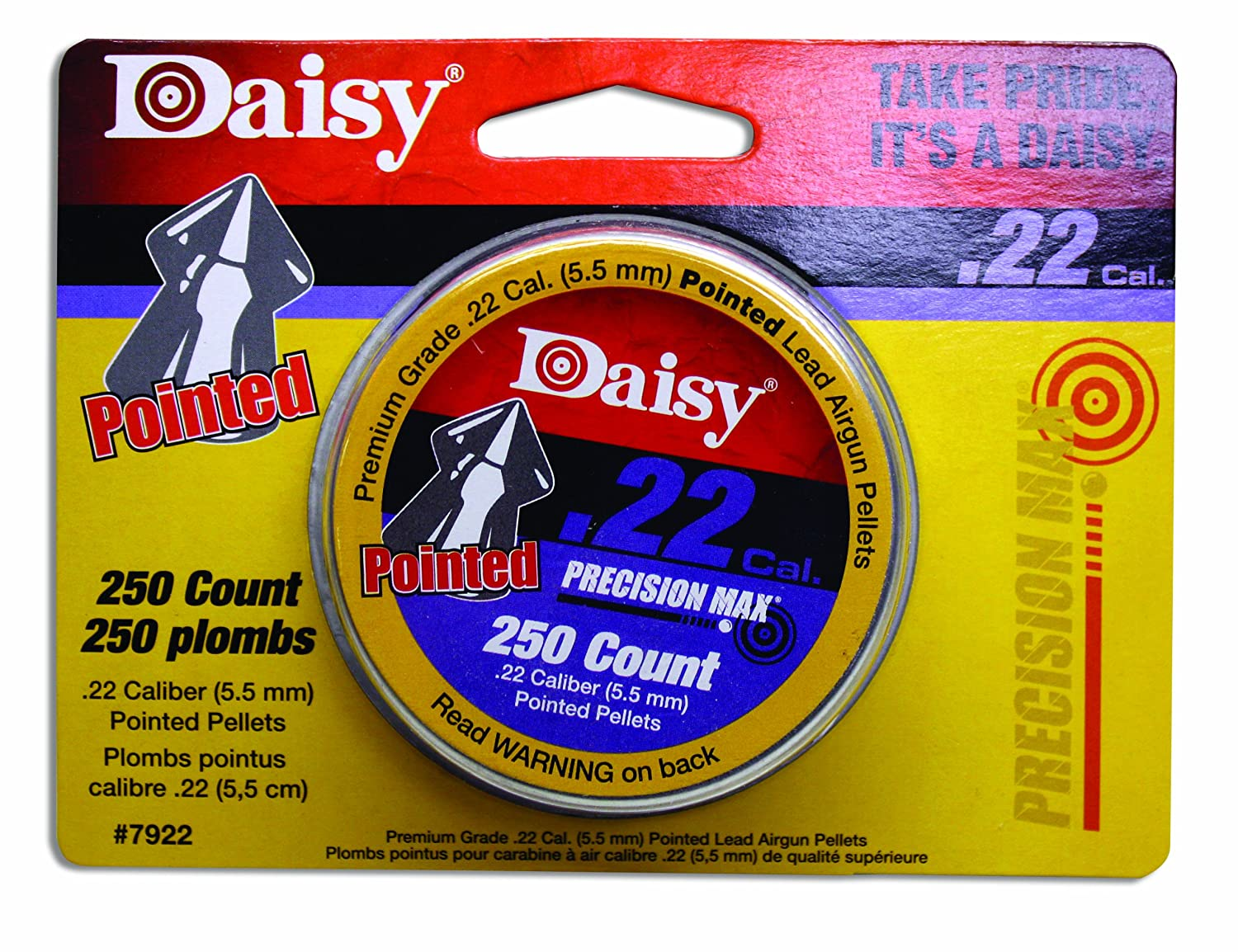 Amazon.com : Daisy Outdoor Products .22 Cal. Pointed Pellets 250ct (Silver, 5.5 mm)
