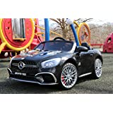 First Drive Mercedes Benz SL Black 12v Kids Cars - Dual Motor Electric Power Ride On Car with Remote, MP3, Aux Cord, Led Headlights, and Premium Wheels (Color: Black)