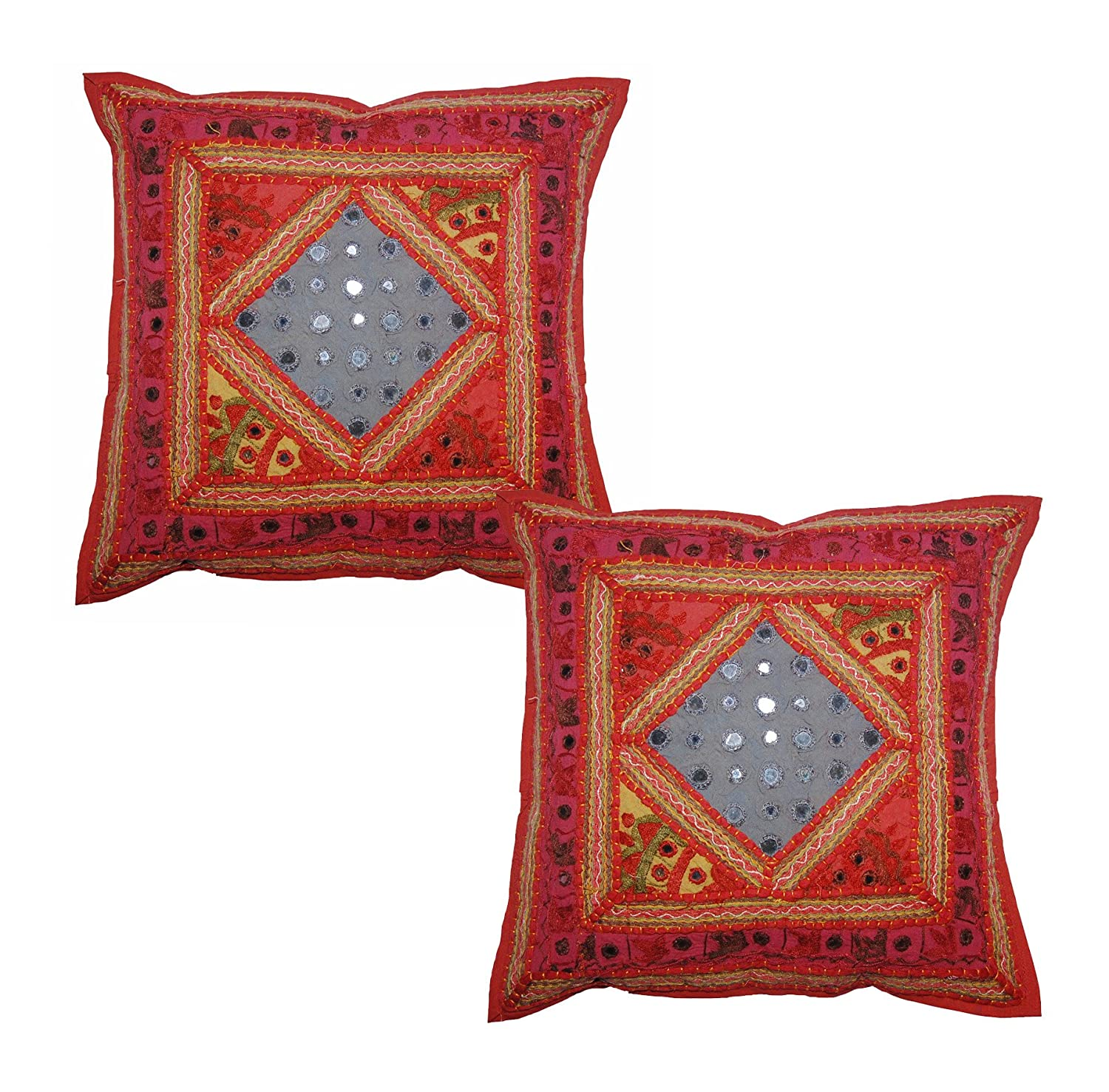Ethnic 16 Indian Cotton Cushion Cover With Embroidery Patchwork Set Of 2 Pillows