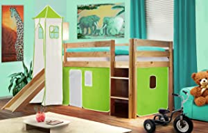 Children&'s Loft Bed With Tower and Slide Solid Pine Wood Natural Coloured Finish   Green/White   SHB/45/1033       Customer reviews and more information