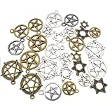 100g about 45-50pcs Craft Supplies Mixed Pendants Beads Charms Pendants for Crafting, Jewelry Findings Making Accessory For DIY Necklace Bracelet M11 (Hexagram Star charms)