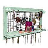 SoCal Buttercup Shabby Chic Jewelry Organizer with Removable Bracelet Rod from Wooden Wall Mounted Holder for Earrings Necklaces Bracelets and Other Accessories