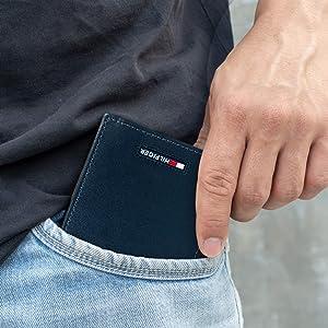 Tommy Hilfiger Men's RFID Blocking Leather Slimfold Wallet, Black, One Size (Color: Black, Tamaño: One Size)