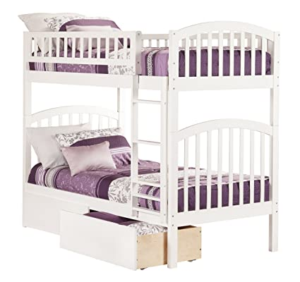 Richland Bunk Bed with 2 Urban Bed Drawers, Twin Over Twin, White