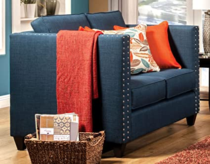 Furniture of America Antonia Tuxedo Love Seat, Turquoise Blue
