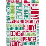 Holiday Greetings PEVA Non Toxic- Non PVC Vinyl Christmas Tablecloth - Flannel Backed - Odorless and Environmentally Friendly - Indoor/Outdoor Use, 60 Inch x 84 Inch Oblong/Rectangle (Color: Holiday Greetings, Tamaño: 60