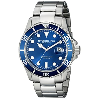 Stuhrling Original Men's 417.03 Aquadiver Regatta Espora Quartz Professional Diver Blue Dial Watch