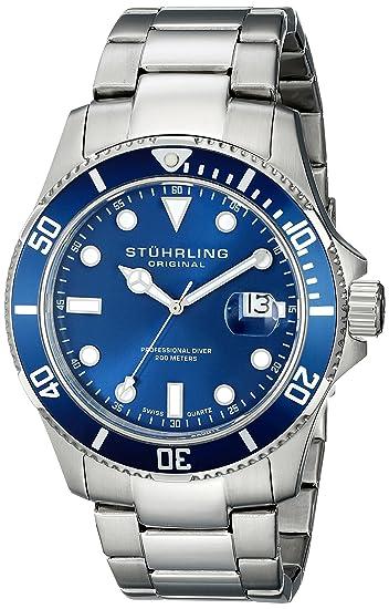 buy stuhrling original aquadiver analog blue dial men s watch buy stuhrling original aquadiver analog blue dial men s watch 417 03 online at low prices in amazon in