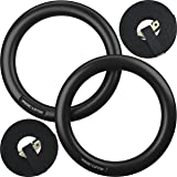 Nordic Lifting Gymnastic Rings and Straps - Heavy Duty for Gymnastics, Crossfit, Strength & Fitness Training - Best Olympic Home Gym Set - PC Plastic is Stronger Than Wood (Color: Black)