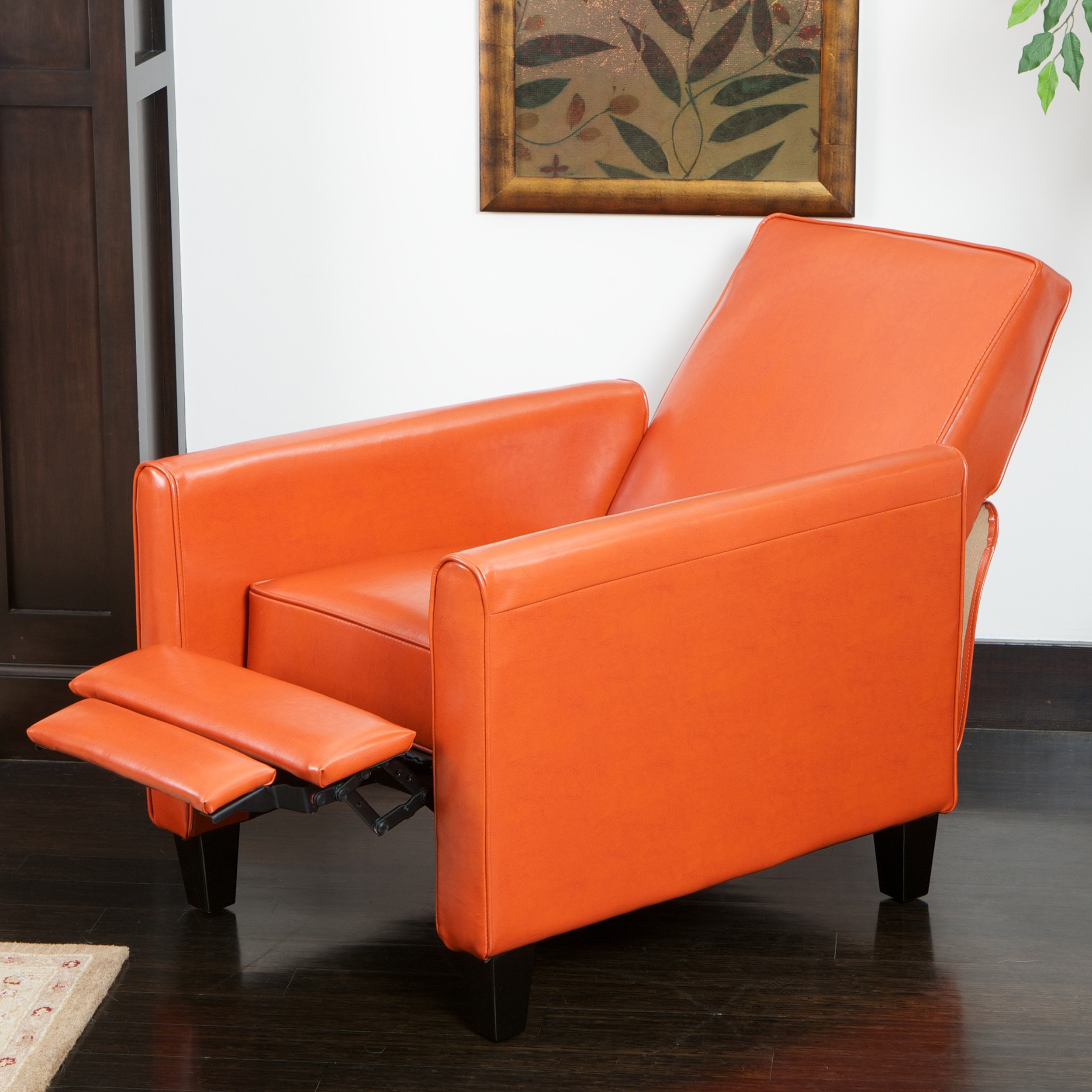 Club chair recliner - Lucas Orange Leather Recliner Club Chair