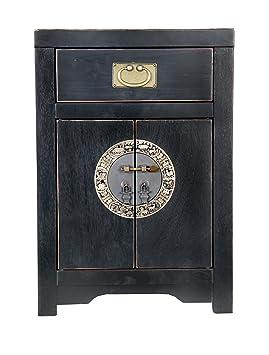 """Sit-Möbel 1853-11 cómoda """"Chinese"""", 45 x 37 x 65 cm, con el diseño de la dinastía Ming, de álamo maciza lacada en negro"""