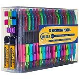 June Gold 72 Mechanical Pencils, 0.7 mm HB #2 Lead, 2 Lead Dispensers /w 220 Refills & 16 Refill Erasers, Break Resistant, Convenient Side Click & Soft Non-Slip Grip