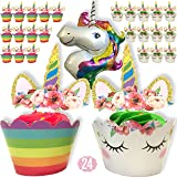 Unicorn School - 24 Unicorn Cupcake Toppers, 24 Unicorn Cupcake Wrappers and 1 Giant Unicorn Balloon. The Perfect Unicorn Cupcake Decorations and Unicorn Party Supplies for a Unicorn Party.