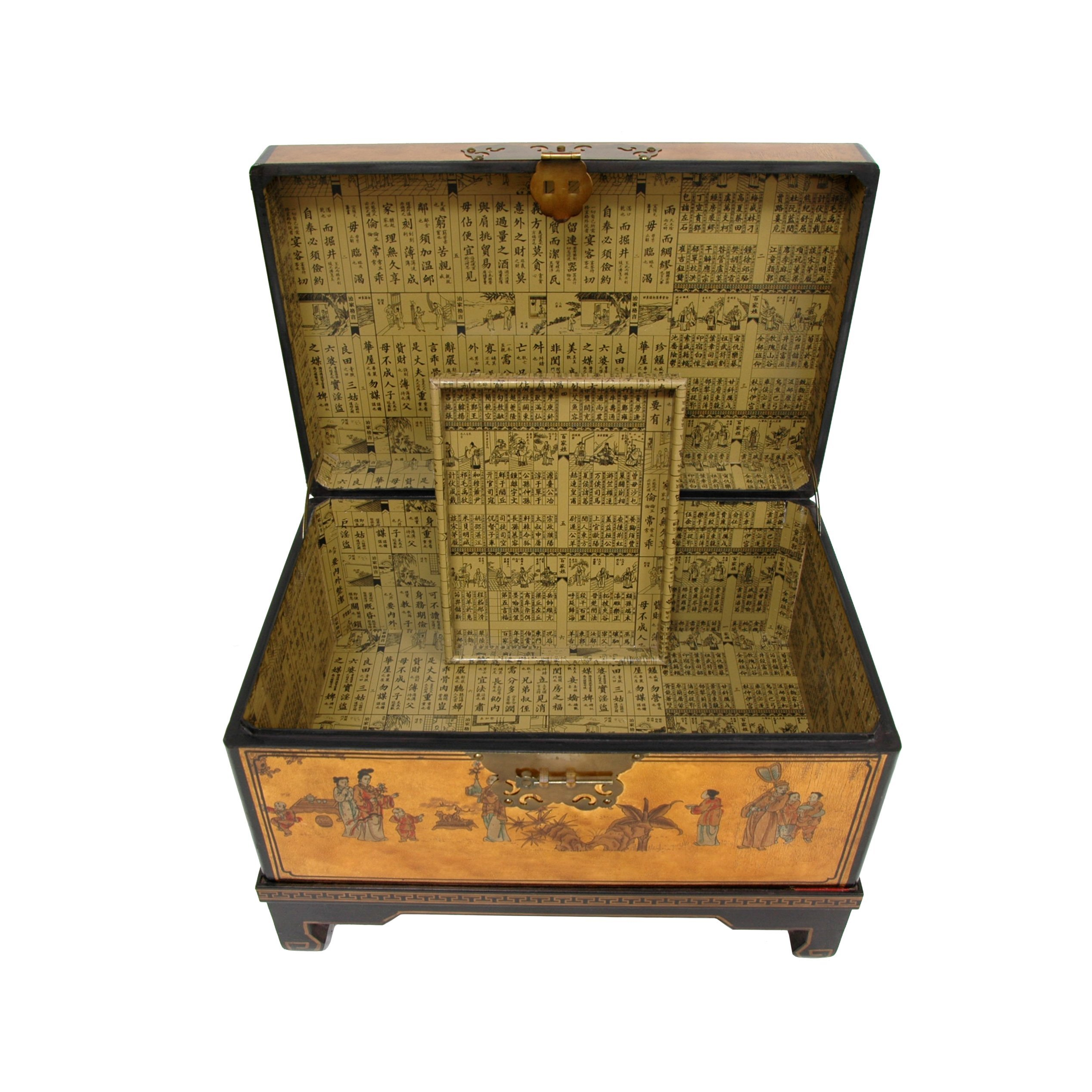 Oriental Furniture Hand Painted Asian Decor 26 Inch Gold Leaf Small Trunk  Oriental Hope Chest