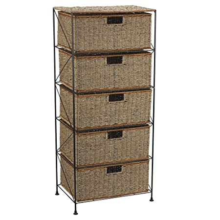 Household Essentials 5-Drawer Storage Unit, Seagrass/Rattan, 41.25 by 18 by 12-Inch