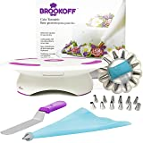 Cake Decorating Kit , Cake Turntable with Spatula, Icing Tips and Icing Bags, Decorating Supplies from Hight Quality Materials, Cake Stand with Lock and Rubberized Bottom