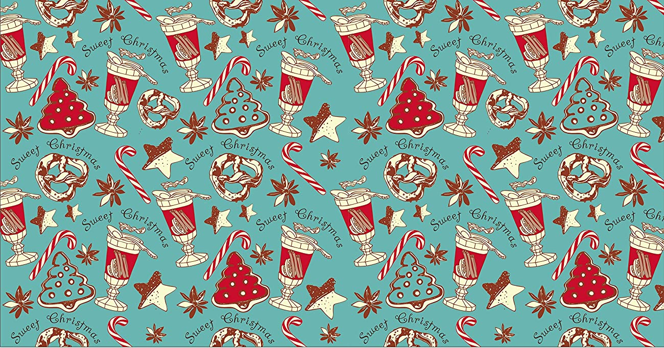 Retro Christmas Kraft Wrapping Paper Sets (Reindeer-Mistletoe-SodaShoppe on Brown Kraft) 5