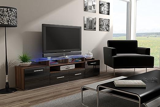 WALLIS PLUM EVORA Moderner Hochglanz TV Möbel Vitrine, Unterhaltung UNITTV Schränke / TV Ständer, Lounge, Wohnzimmer / TV-Schrank / Hochglanz Möbel Wohnzimmer High Gloss Black