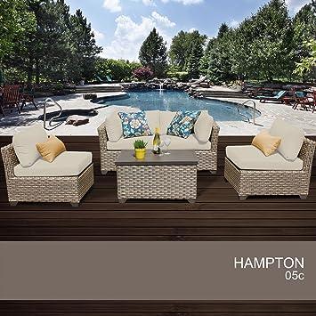 Hampton 5 Piece Outdoor Wicker Patio Furniture Set 05c 2 Yr Fade Warranty