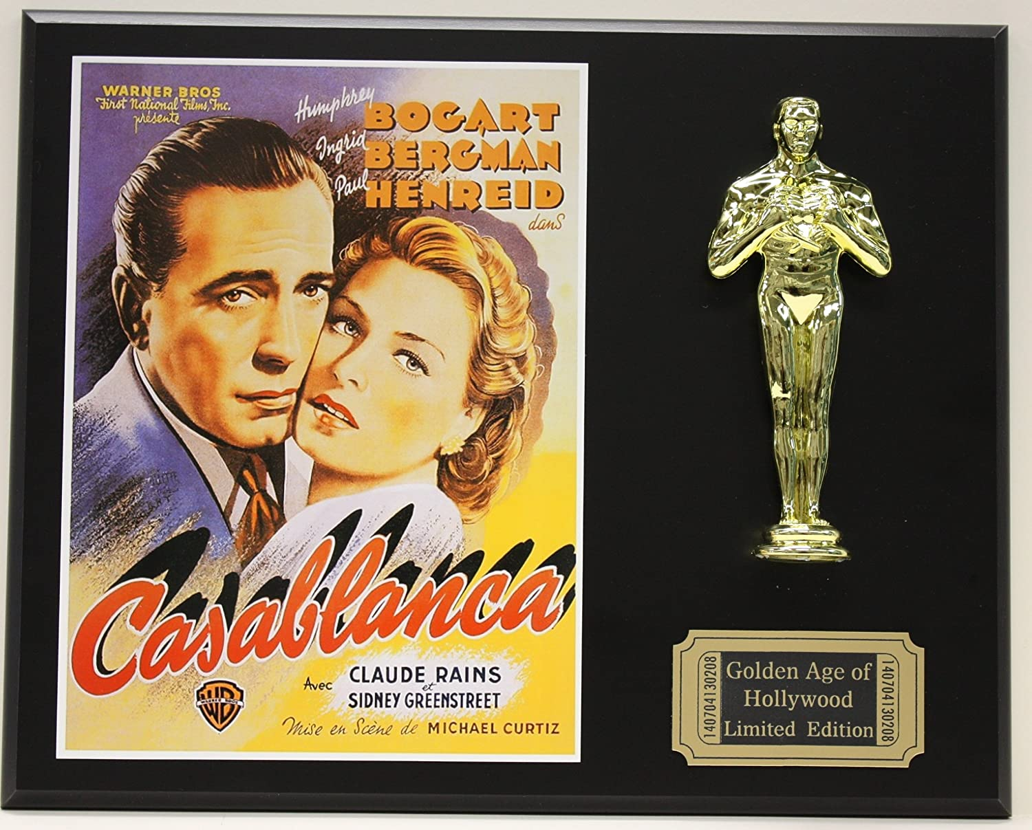 Casablanca, Humphrey Bogart LTD Edition Oscar Movie Poster Display modern fabric upholstered rectangle living room ottoman stool with natural wooden legs home small bench wood foot stool chair