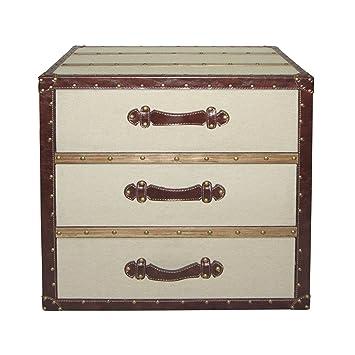 Premier Housewares 2403257 - Cajonera, color marrón y lino, 38 x 56,99 x 62 cm