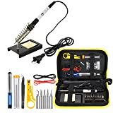 Magento's Superb 14 Pieces Set Adjustable Temperature Soldering Iron Gun Kit 60w - 110v - Best for Small Electric Work and Welding. 5 Bonus Tips in Various Sizes + Bonus Solder Wire + Stand]. (Color: White)
