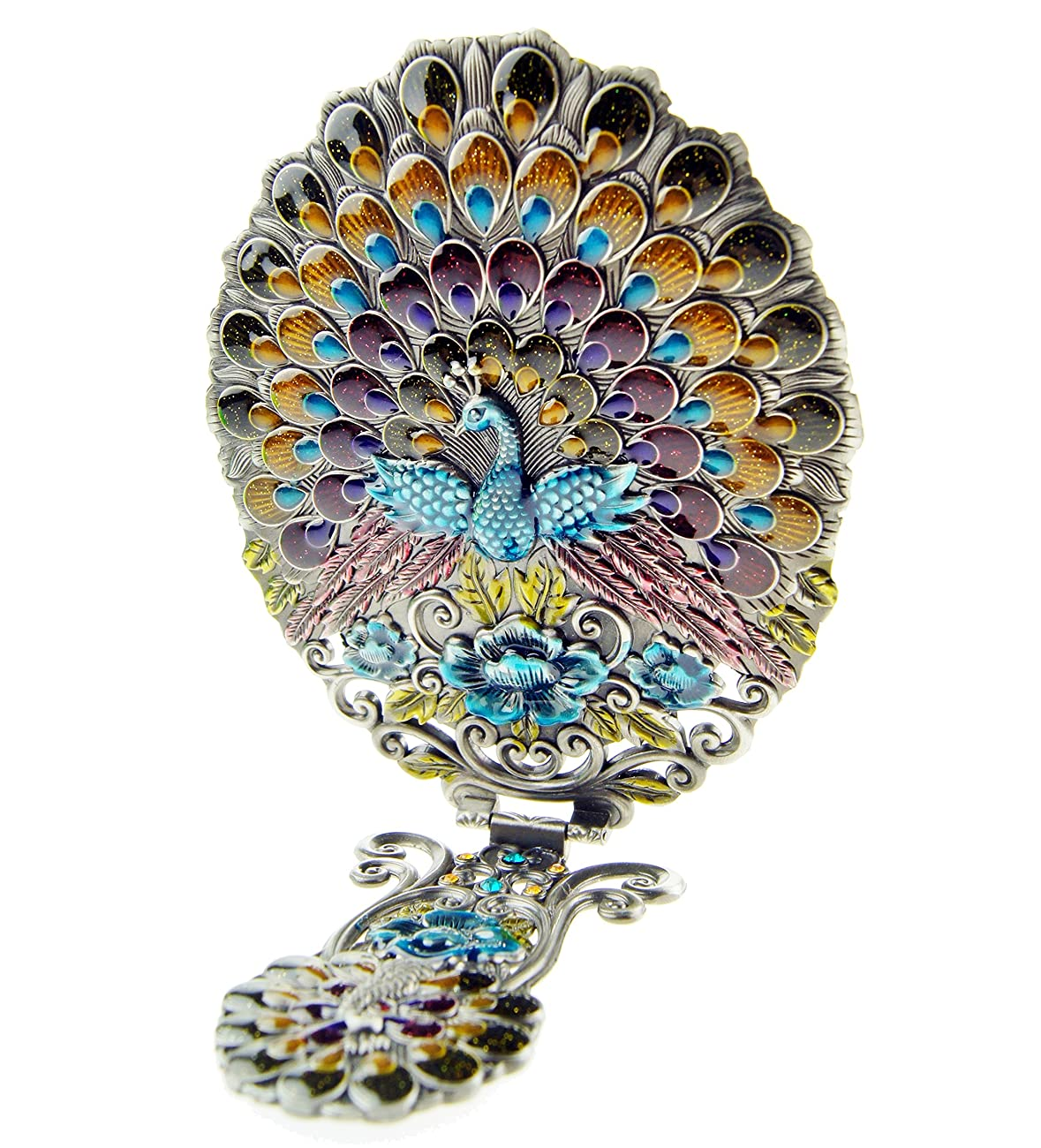 Ivenf Extra Large Size Vintage Oval Make-Up Hand/Table Mirror, Dress Table Decoration, Spreading Tail Peacock, Antique Pewter 3