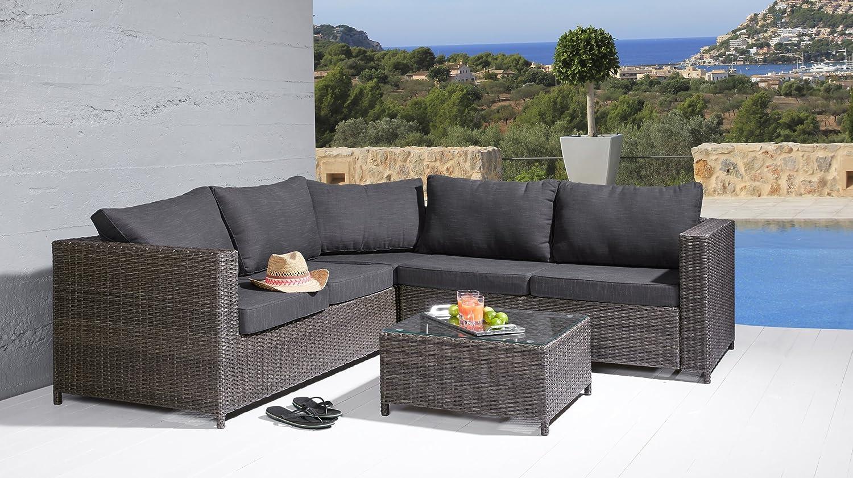 Sitzgruppe Comfortlounge 3 tlg. grau mix Gartengarnitur Lounge Möbel Sofalounge günstig