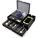 HOUNDSBAY Admiral Dresser Valet Box & Mens Jewelry Box Organizer with Large Smartphone Charging Station (Grey) (Color: Grey, Tamaño: Large)