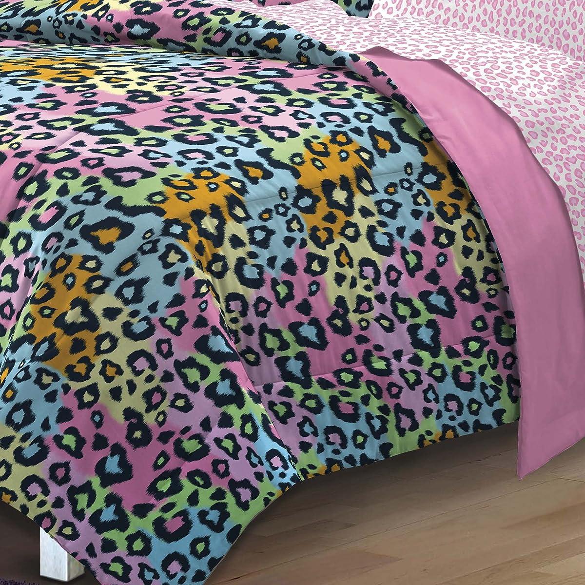 My Room Neon Leopard Ultra Soft Microfiber Girls Comforter Set, Multi-Colored, Twin/Twin X-Large