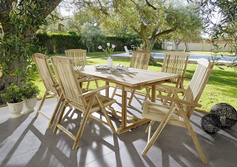 SAM® Teak-Holz Garten-Gruppe Gartenmöbel 7tlg Caracas, Balkon-Gruppe bestehend aus 1 x Tisch + 6 x Stuhl, zusammenklappbare Stühle, leicht zu verstauen kaufen