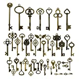 42pcs Mixed Vintage Skeleton Keys, Salome Idea 42 Styles Key for Alice in Wonderland Party, Each 1piece (Brone) (Color: Brone)
