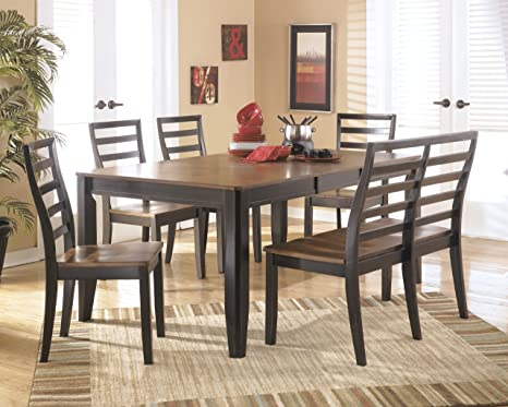 Contemporary Style 6 Piece Two Tone Finish Alonzo Dining Table And Chairs Set