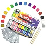 Face Paint Kit for Kids & Adults - Award Winning 14 Color, UV neon and Glitter Professional-Grade, Hypoallergenic Gift Set by festiFACE - BOSS Your Body & facepainting!