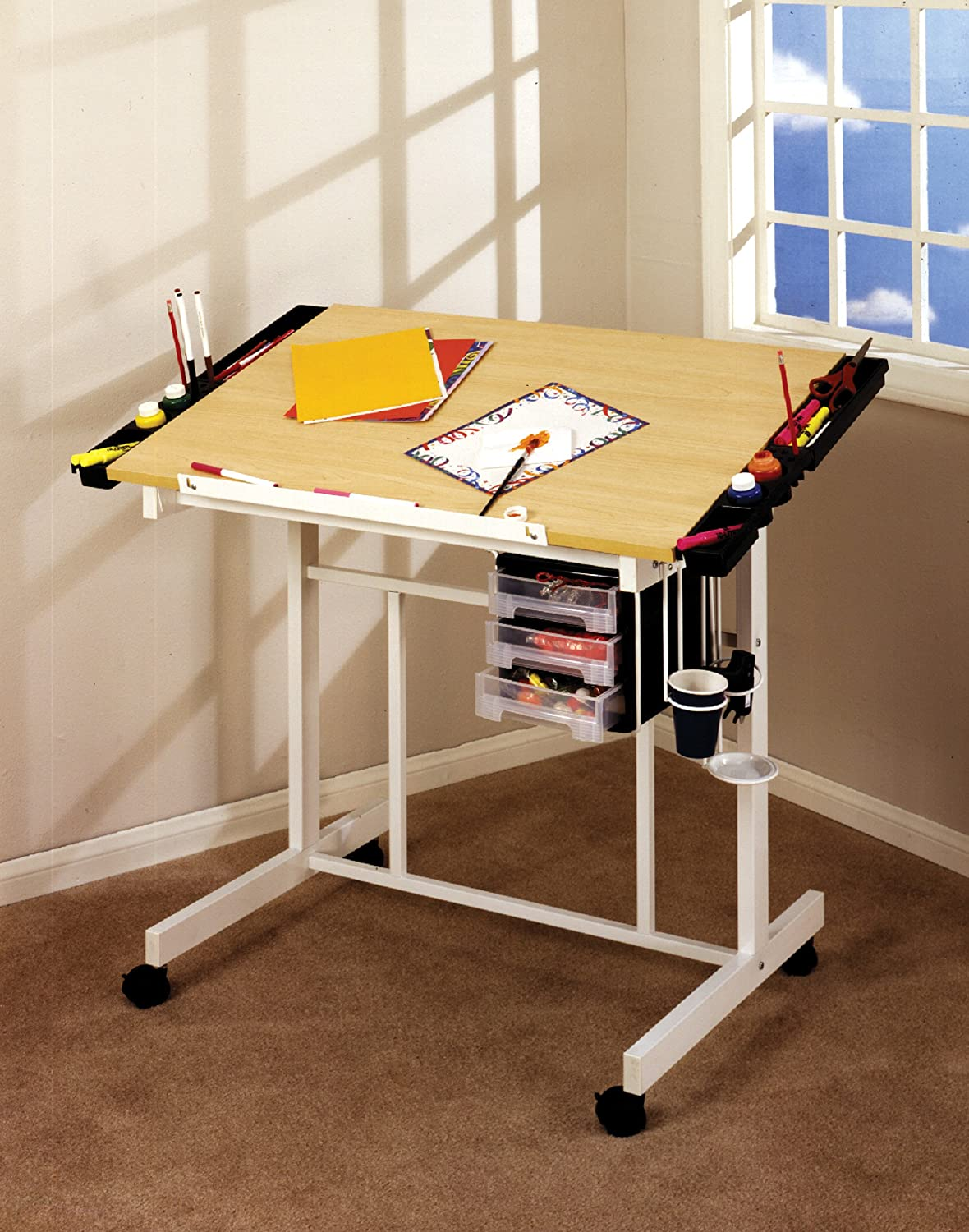 Studio designs deluxe craft station art hobby table paint for Table design on mobile