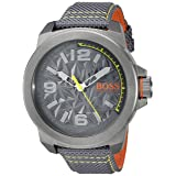 BOSS Orange Men's 'New York' Quartz Resin and Canvas Casual Watch, Color Grey (Model: 1513344) (Color: grey)