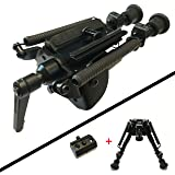 XAegis Rifle Bipod 6-9 Inch Adjustable Height Swivel Style Handy Spring Return,Rail Mount Adapter Included (Color: black, Tamaño: Large)